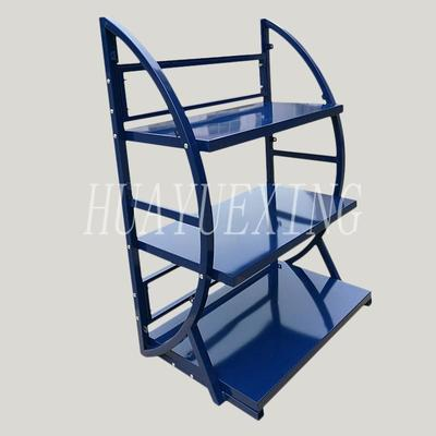 Multifunctional three shelves blue battery or engineer oil display stand HYX-026