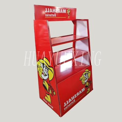 Removable five shelves red metal battery display stand HYX-022