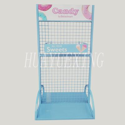Double-side wire mesh blue metal candy display rack HYX-015