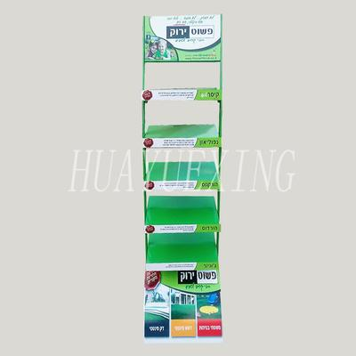 Easy assembly green five shelves metal retail display rack HYX-007
