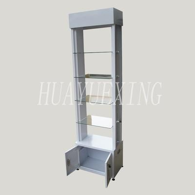 Fashionable glass shelves white metal display rack with cabinet  HYX-017